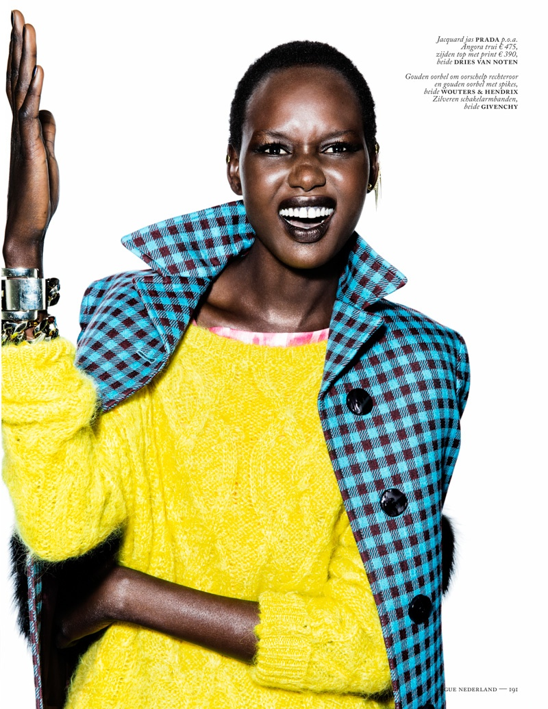 ajak deng model6 Ajak Deng Models Fall Brights for Vogue Netherlands by Marc de Groot