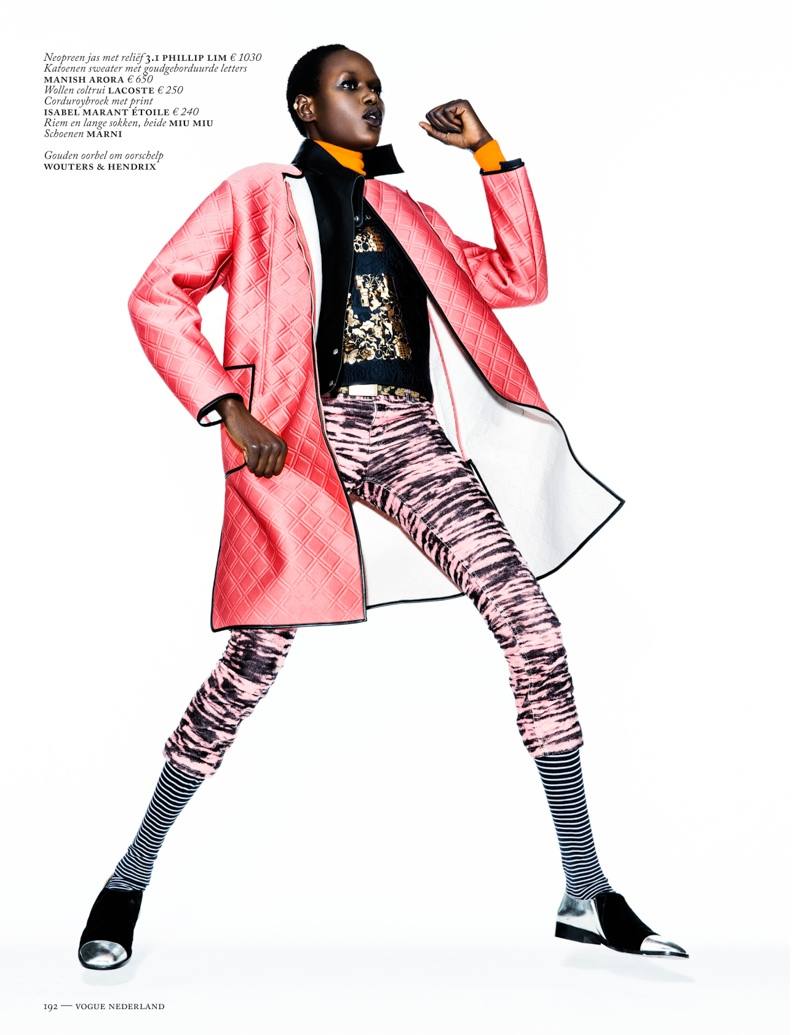 ajak deng model7 Ajak Deng Models Fall Brights for Vogue Netherlands by Marc de Groot
