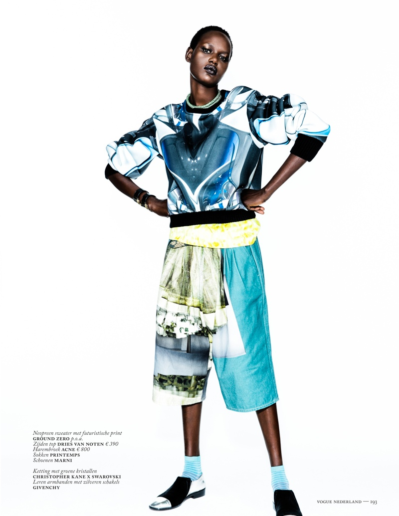 ajak deng model8 Ajak Deng Models Fall Brights for Vogue Netherlands by Marc de Groot