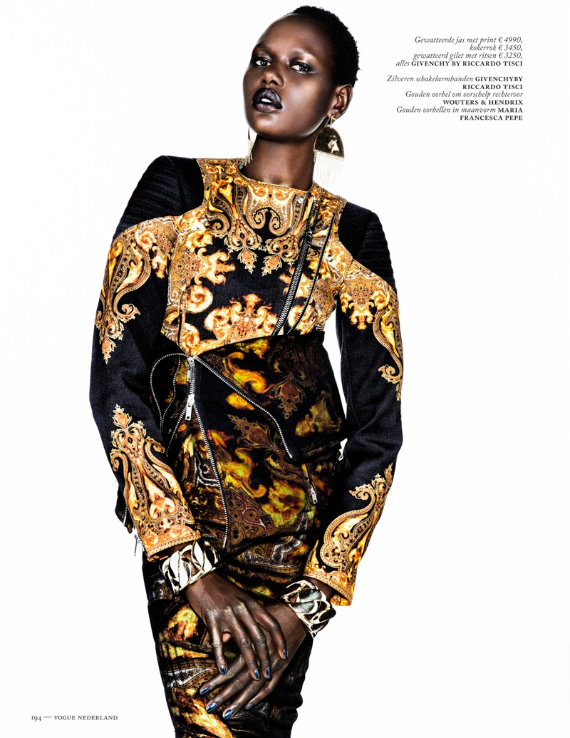 ajak deng model9 Ajak Deng Models Fall Brights for Vogue Netherlands by Marc de Groot