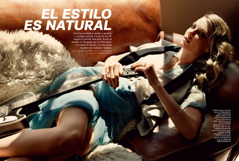 angela lindvall model1 800x541 Angela Lindvall Keeps it Low Key for Hilary Walsh in S Moda Spread