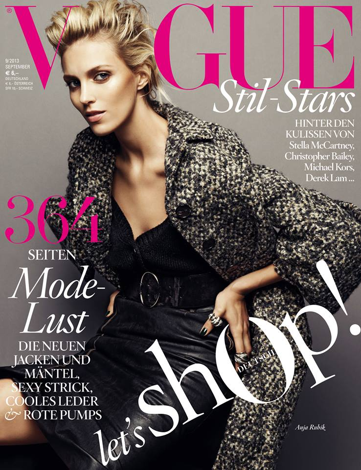 anja vogue cover Anja Rubik Graces Vogue Germanys September 2013 Cover