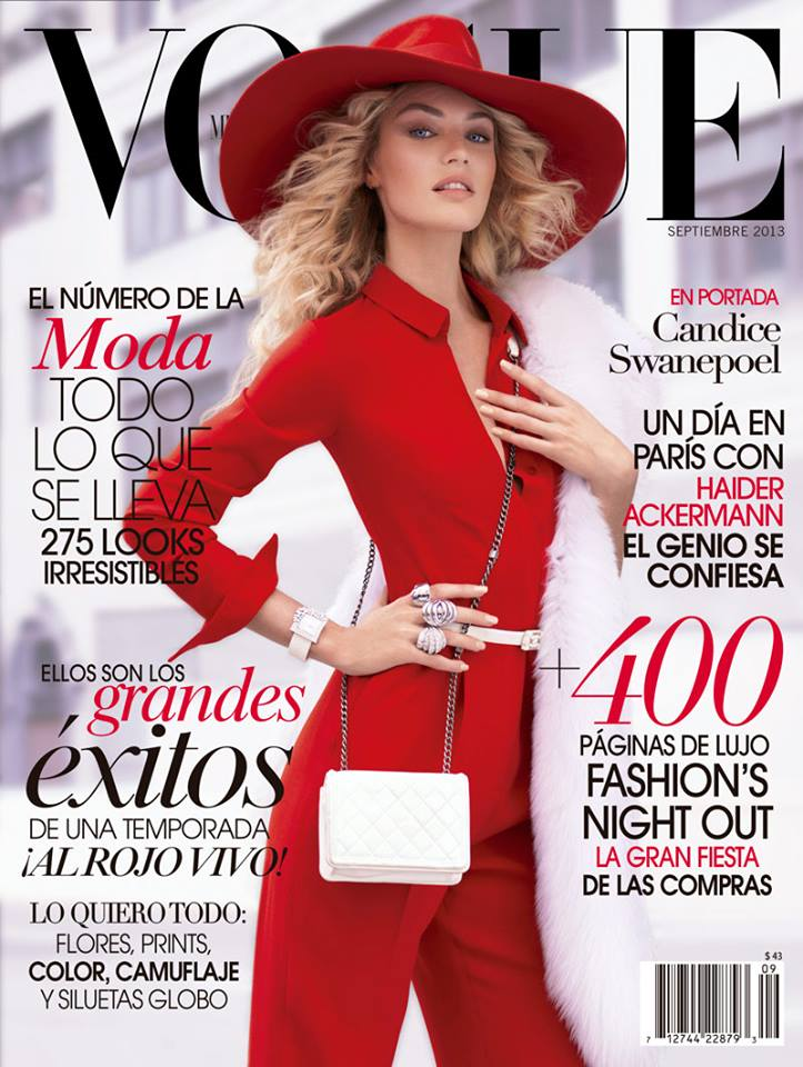 candice vogue cover valentino Candice Swanepoel is Red Hot for Vogue Mexicos September 2013 Cover