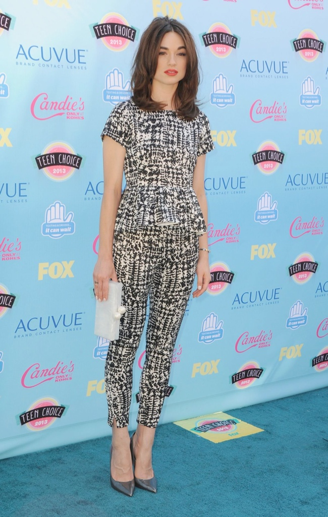 crystal reed ach caroline herrera Miley Cyrus in Saint Laurent, Nina Dobrev in J. Mendel & More Style at the Teen Choice Awards 2013