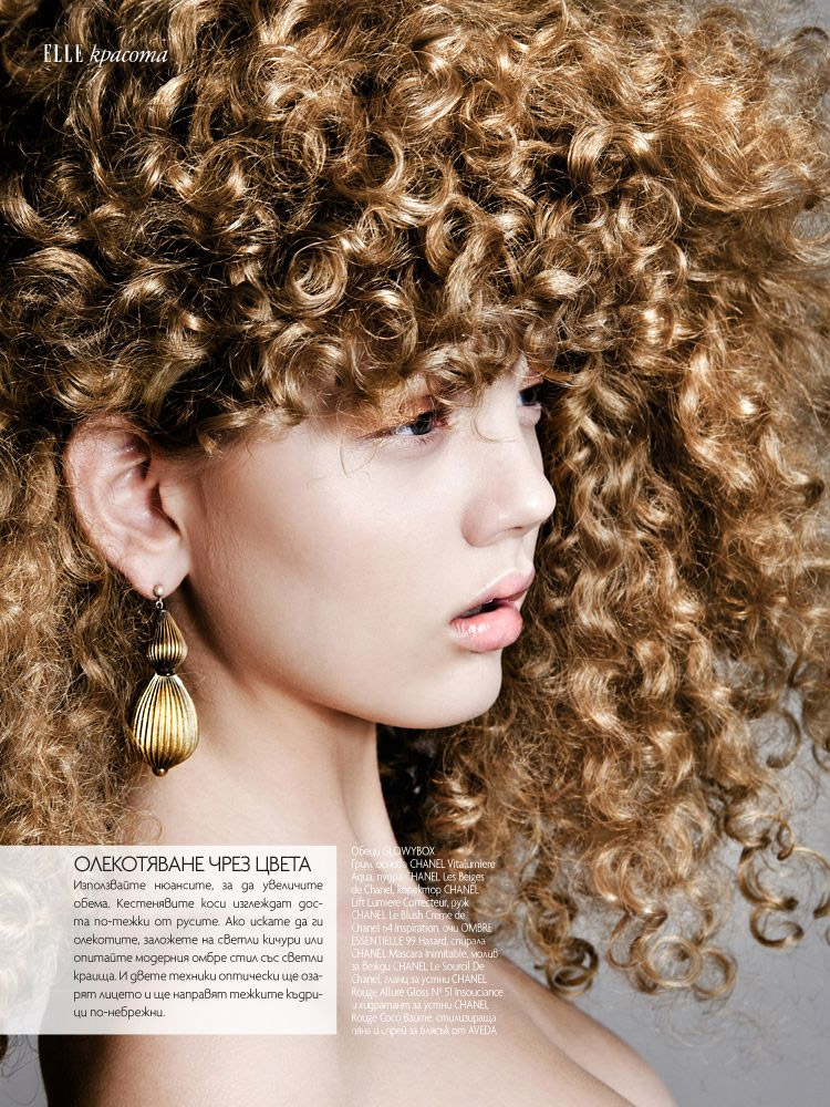 curly hair elle3 Sarah Baumann Models Curly Styles for Elle Bulgaria by Conny Kirste