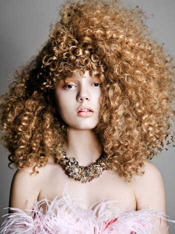 Sarah Baumann Models Curly Styles for Elle Bulgaria