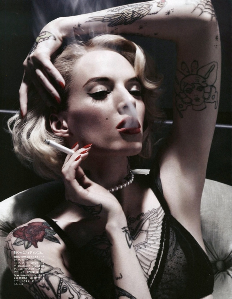 Daria Strokous is Tattoo Glam for Vogue Japan Shoot by Sølve Sundsbø