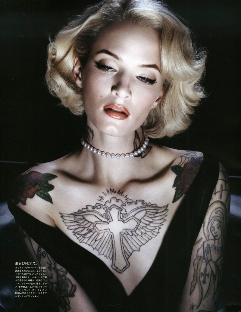 daria solve sundsbo shoot8 Daria Strokous is Tattoo Glam for Vogue Japan Shoot by Sølve Sundsbø