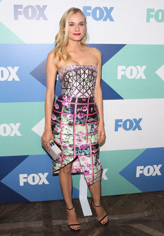 diane kruger mary dress1 Diane Kruger Wears Mary Katrantzou at the FOX Summer TCA All star Party