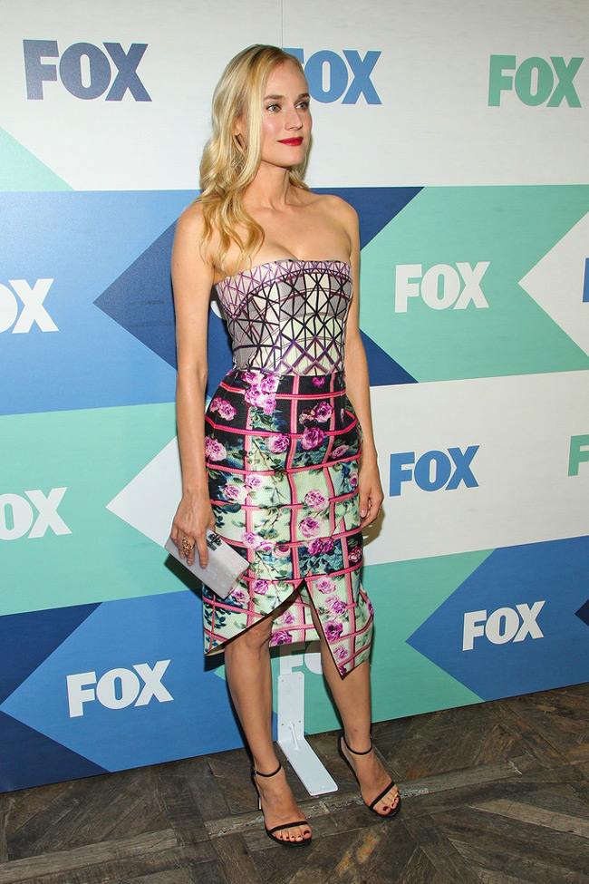 diane kruger mary dress2 Diane Kruger Wears Mary Katrantzou at the FOX Summer TCA All star Party