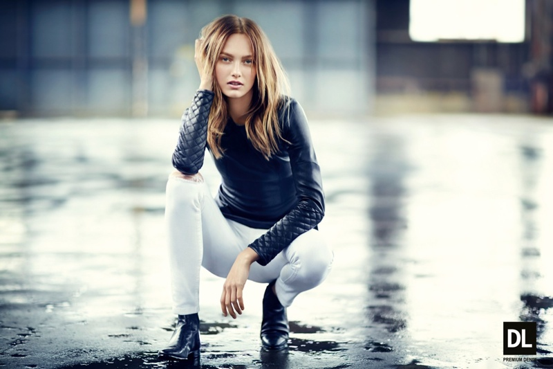Karmen Pedaru Models Denim Styles for DL1961 Fall 2013 Campaign