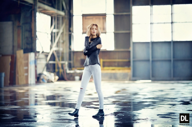 Karmen Pedaru Models Denim Styles for DL1961 Fall 2013 Campaign
