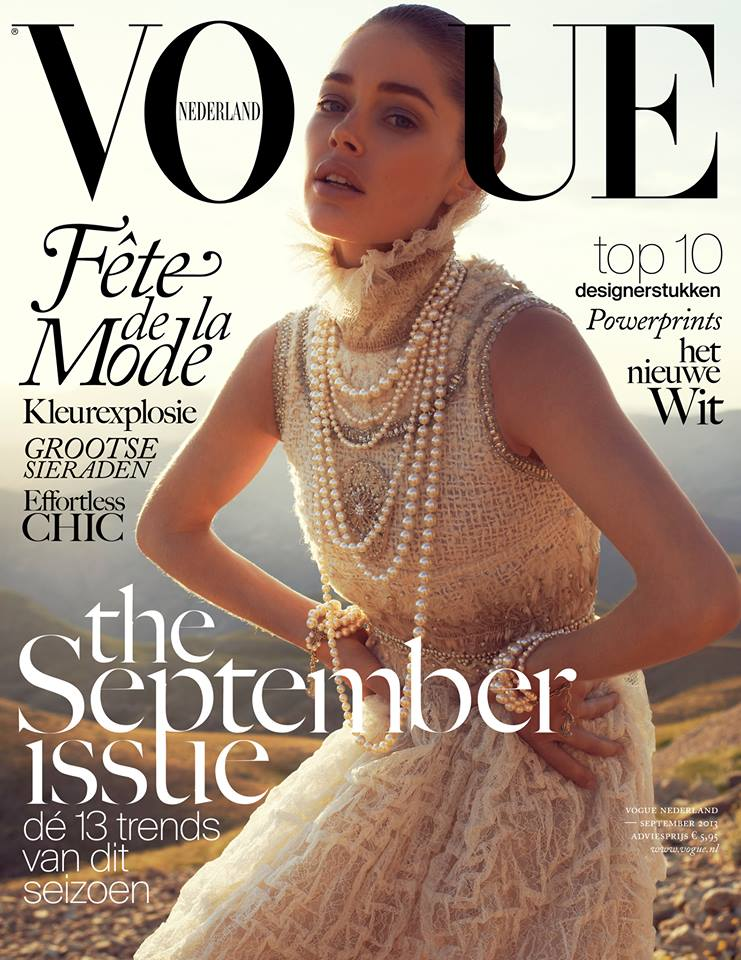 doutzen kroes chanel cover Doutzen Kroes Covers Vogue Netherlands September 2013 in Chanel