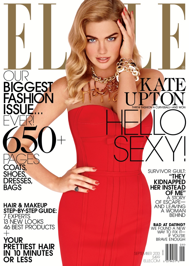 elle kate upton1 Kate Upton is Red Hot on Elle US September 2013 Cover