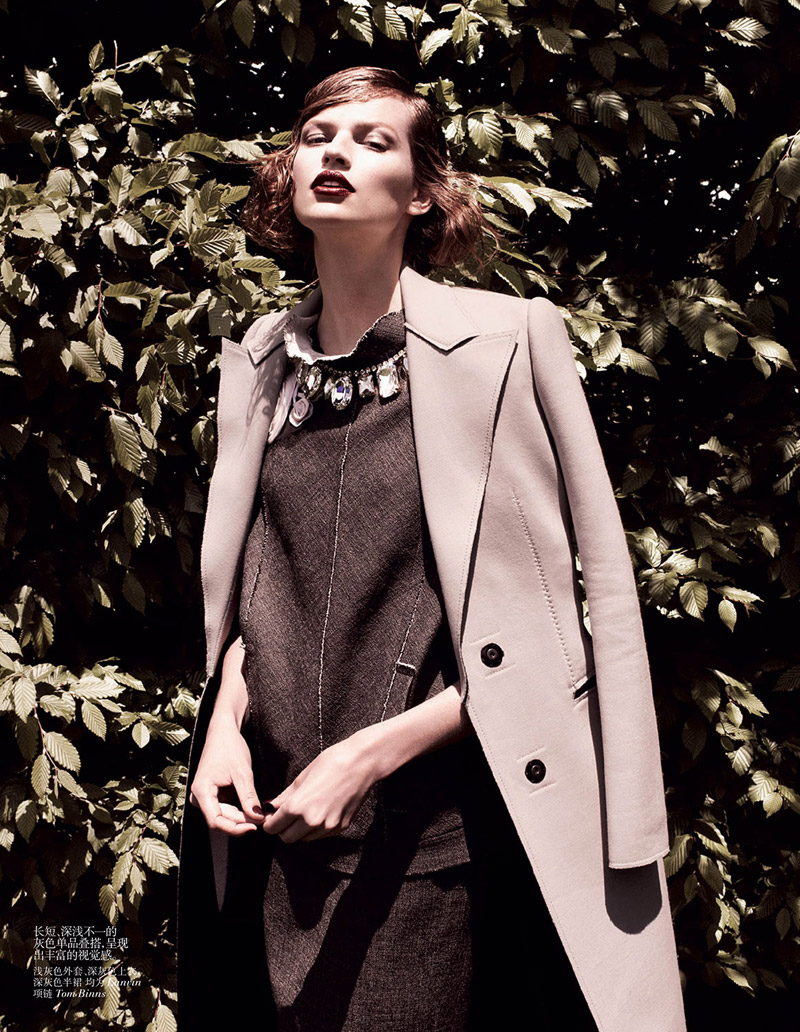 grey daniel jackson8 Bette Franke is Ladylike in Vogue China Shoot by Daniel Jackson