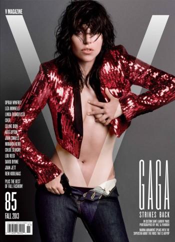 Lady Gaga Covers V Magazine #85 in Saint Laurent
