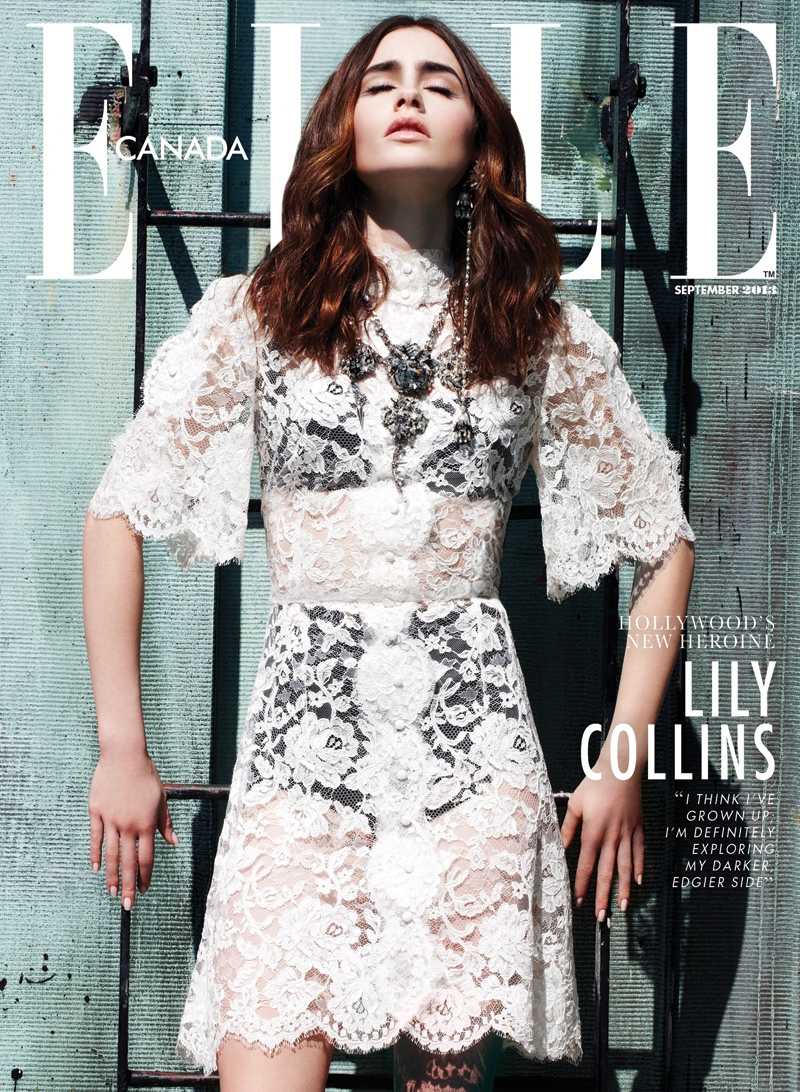 lily collins4 Lily Collins Shines in Elle Canadas September 2013 Cover Story