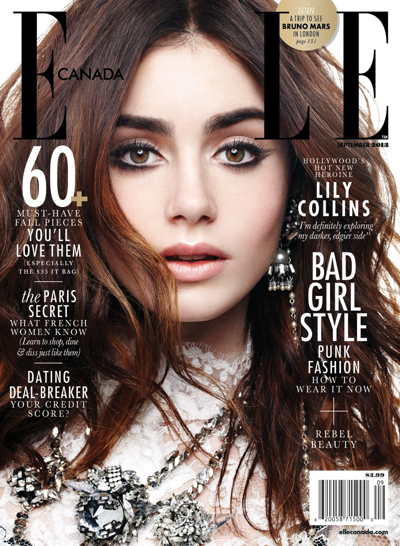 lily collins5 Lily Collins Shines in Elle Canadas September 2013 Cover Story