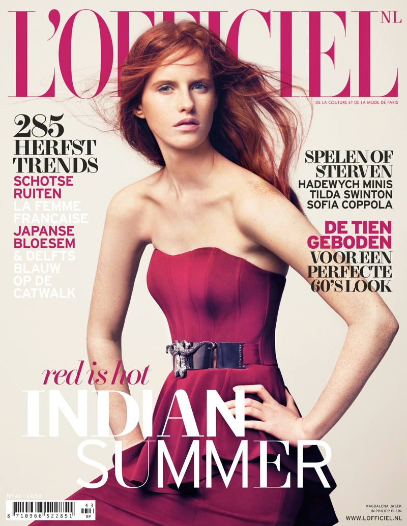 lofficiel nl cover Magdalena Jasek is Pretty in Pink for LOfficiel Netherlands August 2013