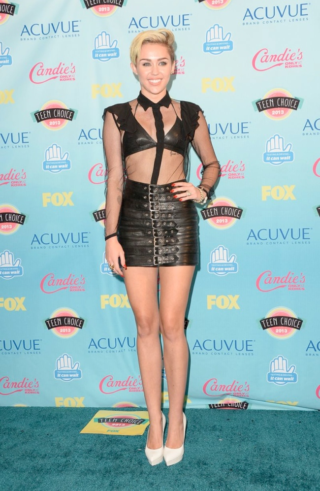 miley cyrus saint laurent Miley Cyrus in Saint Laurent, Nina Dobrev in J. Mendel & More Style at the Teen Choice Awards 2013