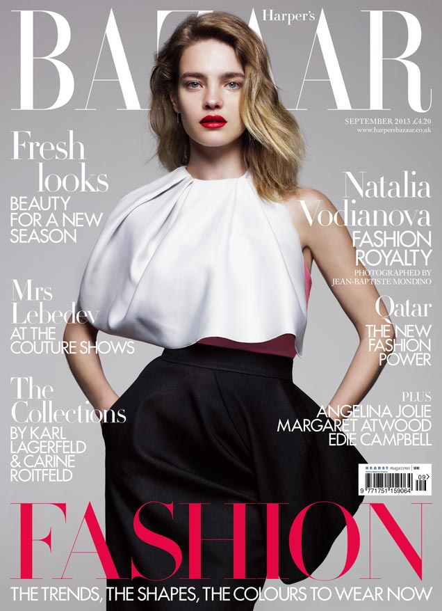 natalie bazaar cover Natalia Vodianova is Divine in Dior for Harpers Bazaar UK September 2013 Cover