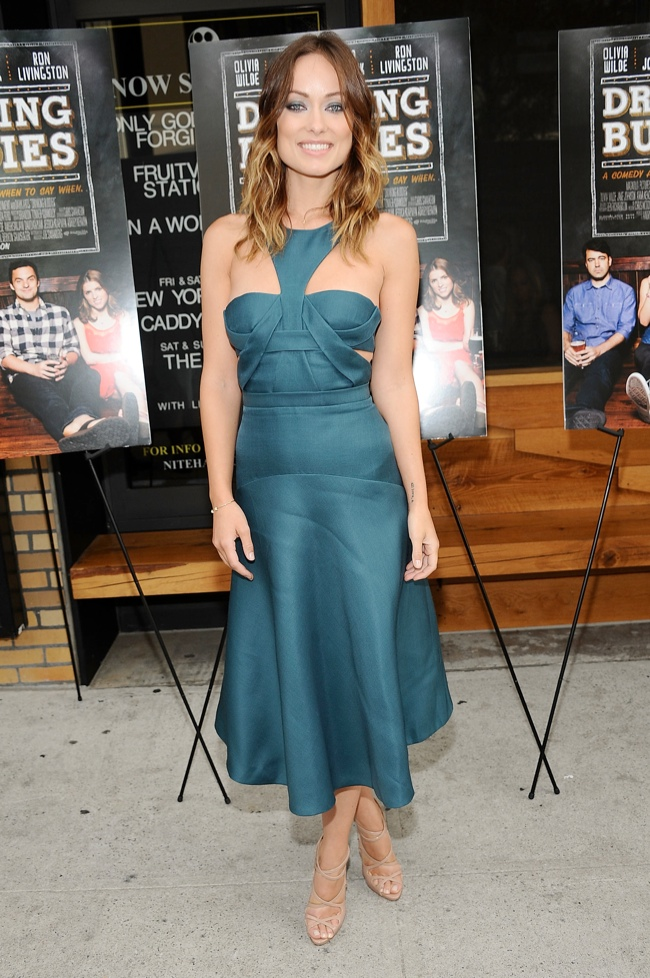 """Olivia Wilde Wears J. Mendel to """"Drinking Buddies"""" New York Screening"""