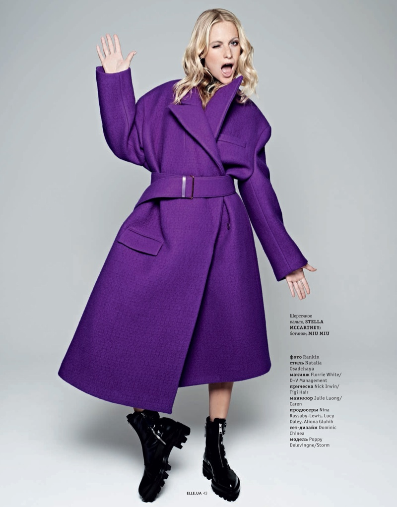 poppy new5 Poppy Delevingne Stars in Elle Ukraines September Issue by Rankin