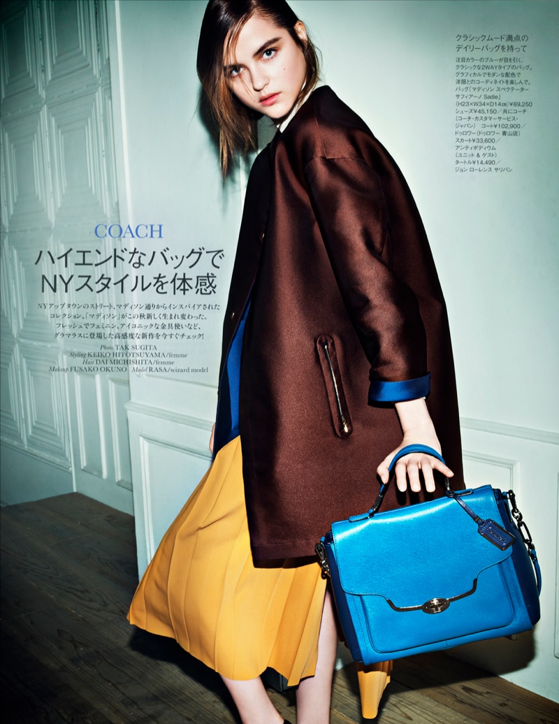 rasa coach bags shoot1 Rasa Zukauskaite Poses for Tak Sugita in Elle Japan Shoot