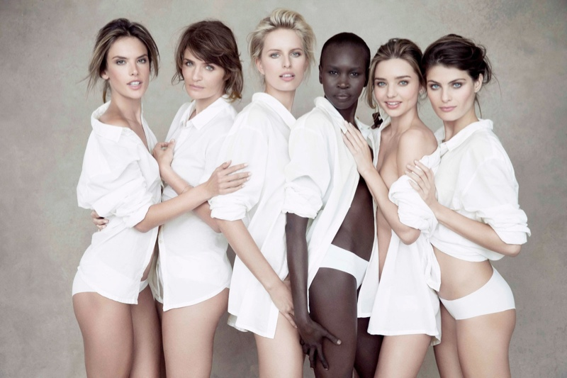 supermodels pirelli3 See a Preview of Pirellis 2014 Calendar Starring Miranda Kerr, Helena Christensen & More
