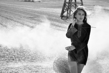 Karmen Pedaru Hits the Desert for True Religion's Fall 2013 Ads