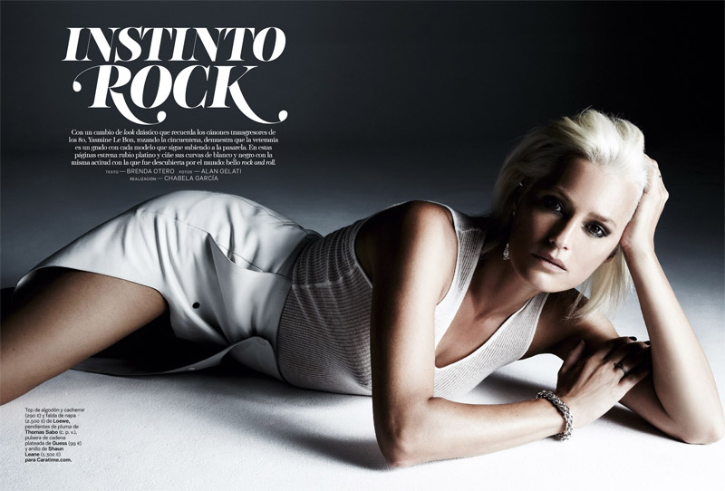 yasmine le bon1 Yasmin le Bon Shows Off Platinum Blonde Look for S Moda Spread