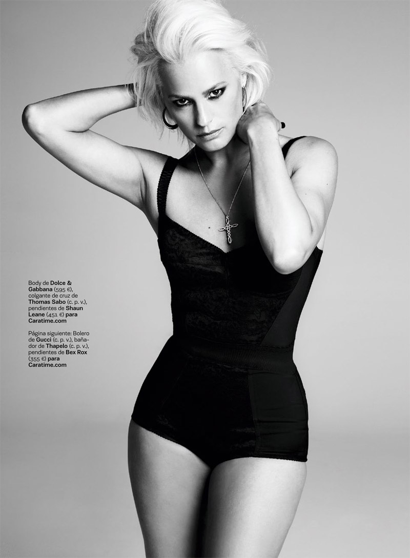 yasmine le bon4 Yasmin le Bon Shows Off Platinum Blonde Look for S Moda Spread