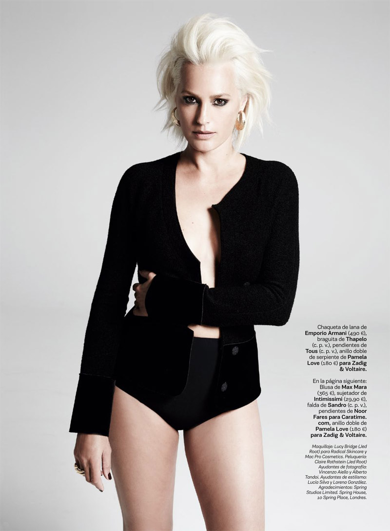 yasmine le bon6 Yasmin le Bon Shows Off Platinum Blonde Look for S Moda Spread