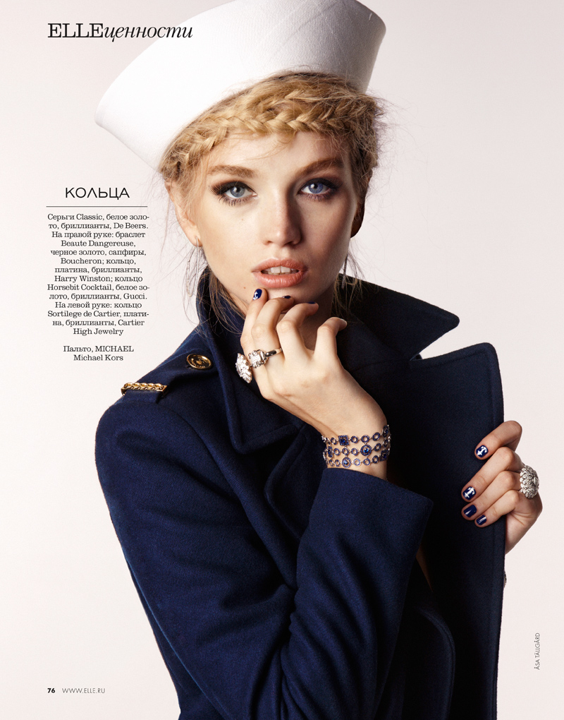 Diana Khullina Gets Nautical for Elle Russia Spread by Asa Tallgard