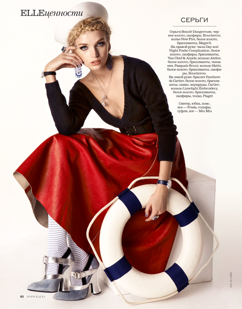 06 elle russia oct 13 diana khulina asa tallgard 800 Diana Khullina Gets Nautical for Elle Russia Spread by Asa Tallgard