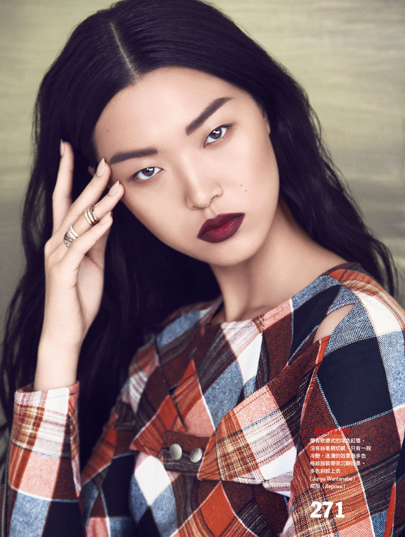 Vogue Taiwan Check Point 169Final Tian Yi is Pretty in Plaid for Vogue Taiwan Feature by Yossi Michaeli