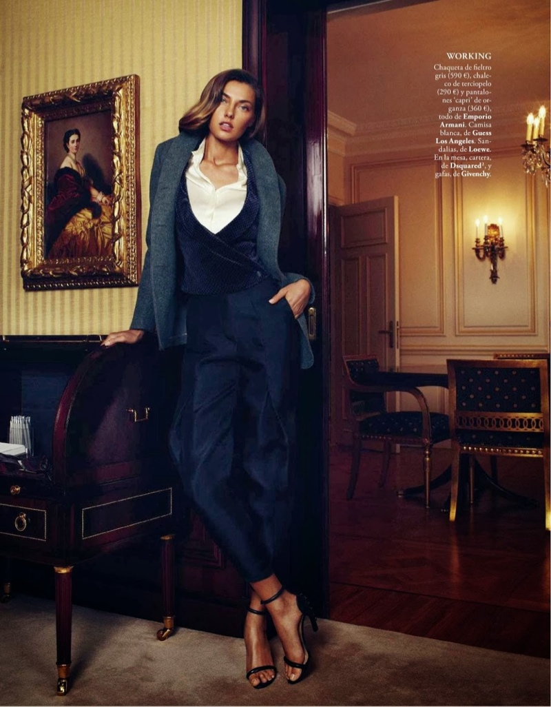 alina xavi gordo12 Alina Baikova Wears British Inspired Style for Xavi Gordo in Elle Spain Shoot