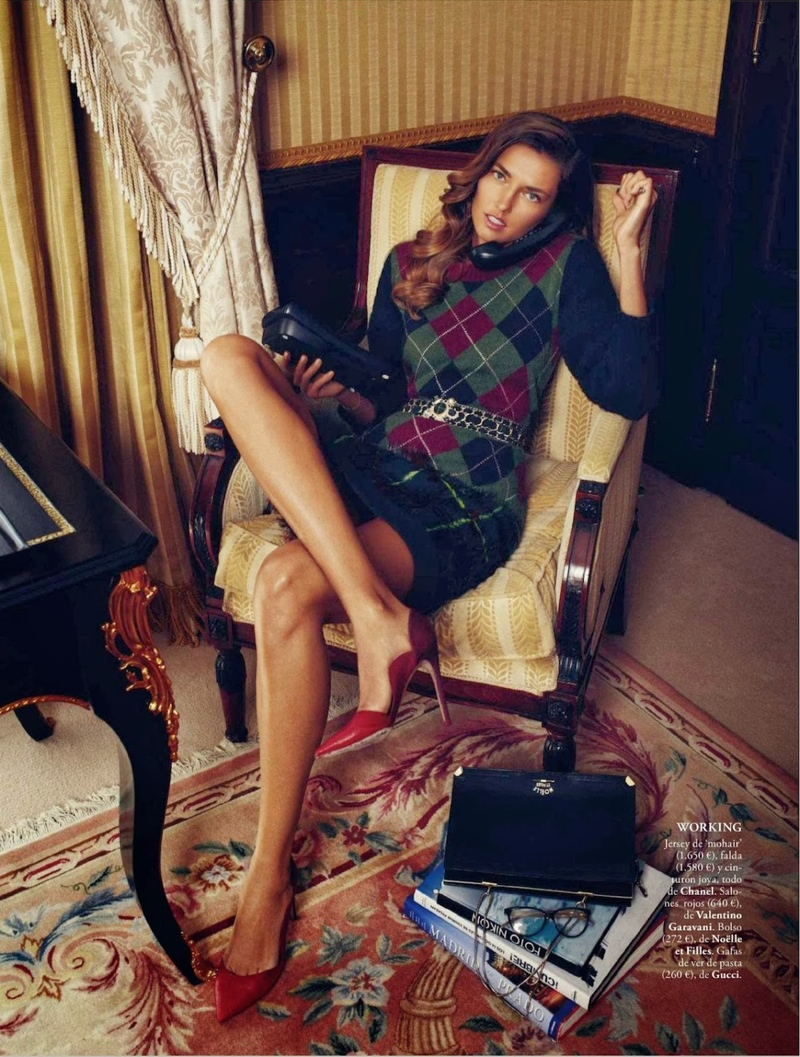 alina xavi gordo5 Alina Baikova Wears British Inspired Style for Xavi Gordo in Elle Spain Shoot