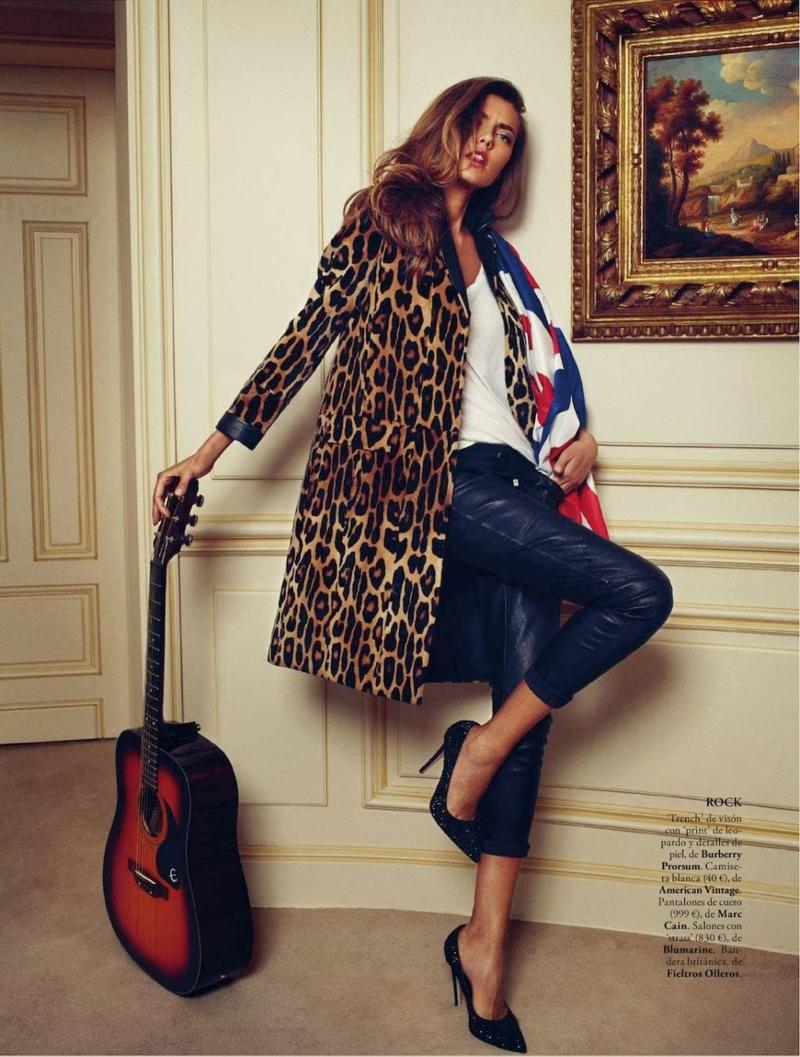 Alina Baikova Wears British Inspired Style for Xavi Gordo in Elle Spain Shoot