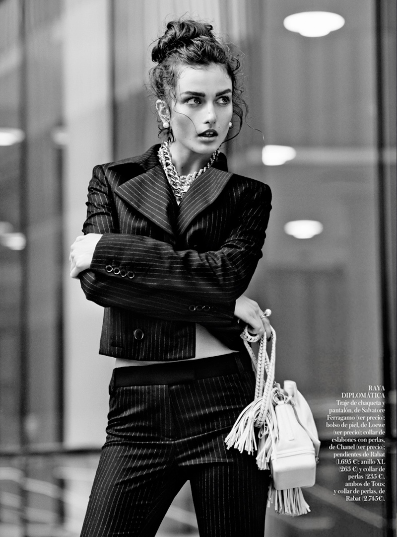 Andreea Diaconu Models Boyish Style for Mariano Vivanco in Vogue Spain