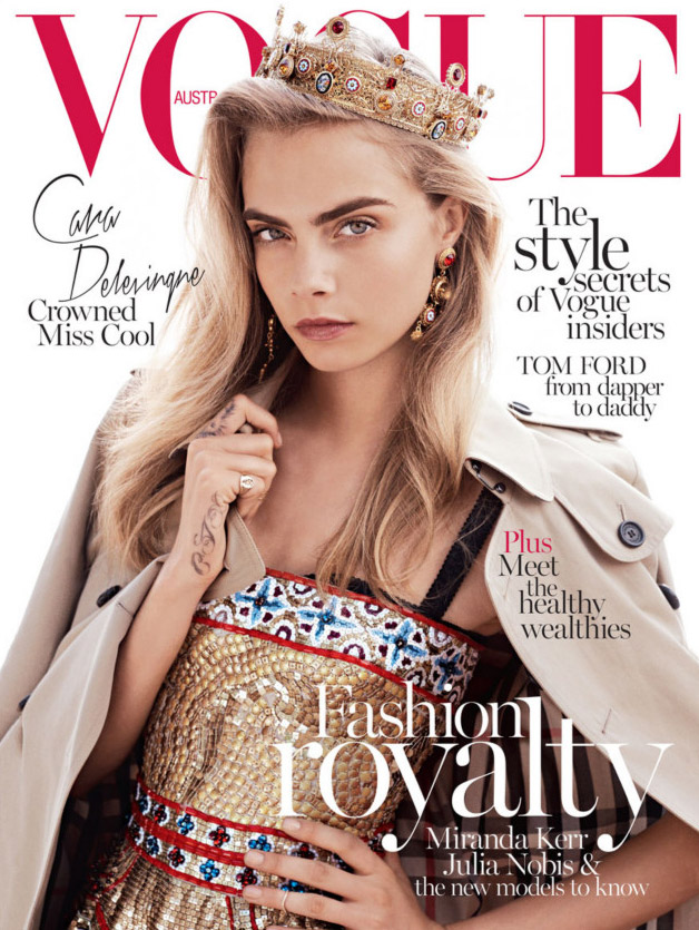 cara vogue au cover Cara Delevingne Wears the Crown for Vogue Australias October 2013 Cover