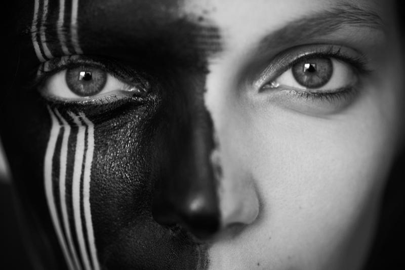 Nora Shopova Wears War Paint for Diego Uchitel's Dramatic Gravure Shoot