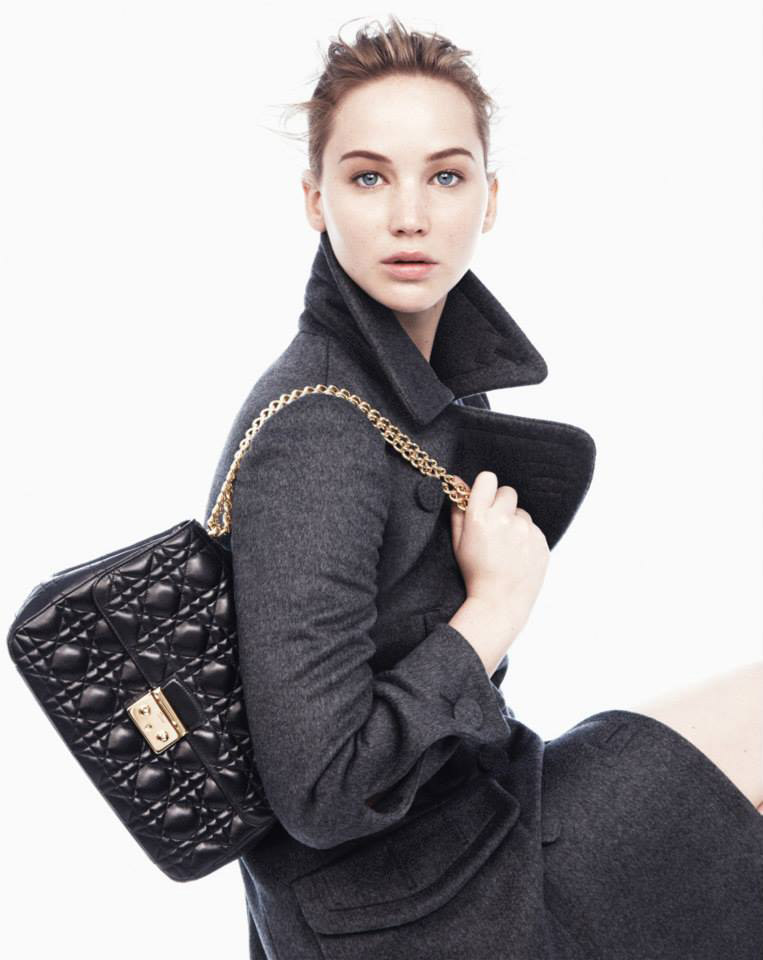 dior jennifer ad1 Jennifer Lawrence Models Miss Dior Handbags for Fall 2013 Campaign