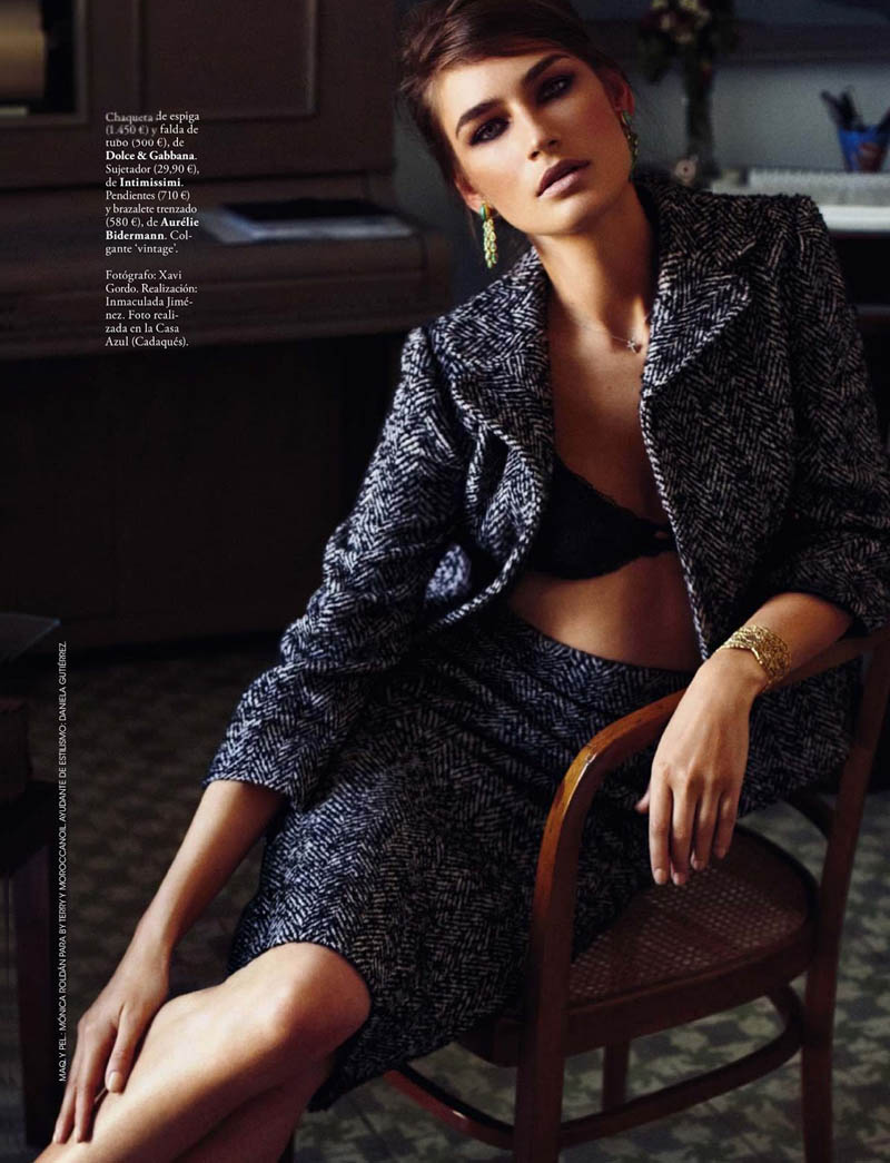 eugenia xavi gordo6 Eugenia Volodina Gets Glam for Xavi Gordo in Elle Spain October 2013