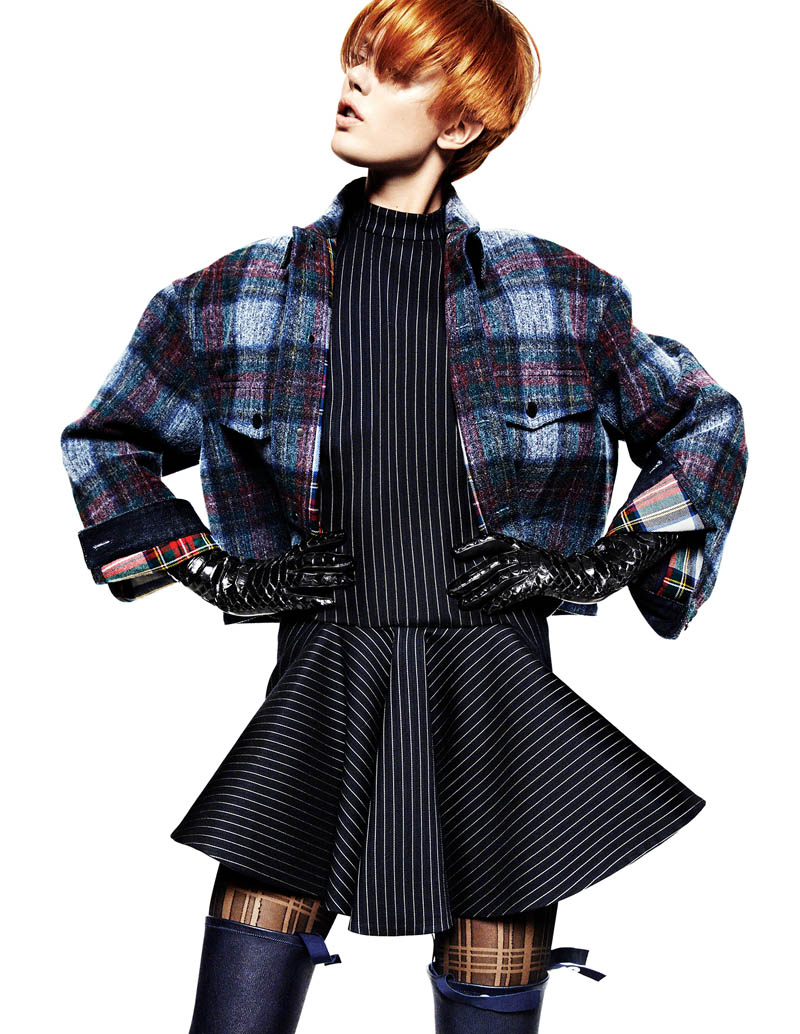 frida greg kadel1 Frida Gustavsson Gets Animated in Plaid for Greg Kadel in Vogue China