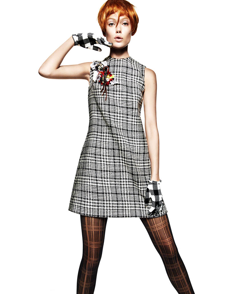 Frida Gustavsson Gets Animated in Plaid for Greg Kadel in Vogue China