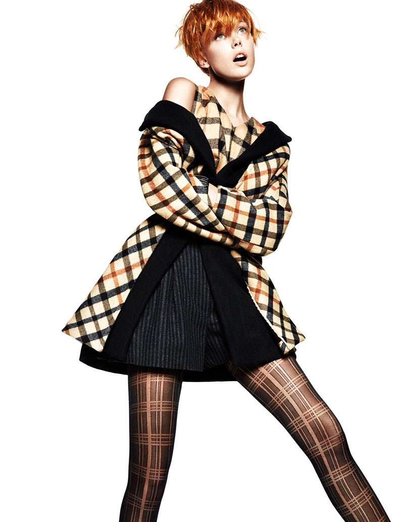 frida greg kadel4 Frida Gustavsson Gets Animated in Plaid for Greg Kadel in Vogue China