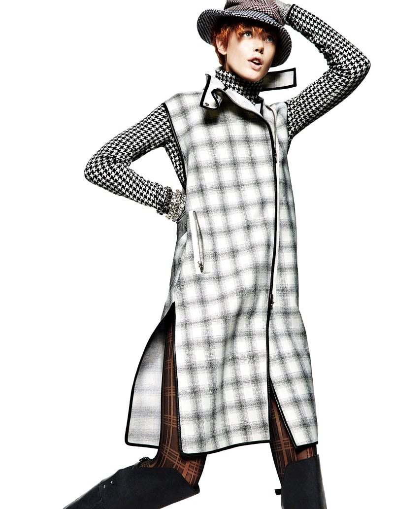 frida greg kadel5 Frida Gustavsson Gets Animated in Plaid for Greg Kadel in Vogue China