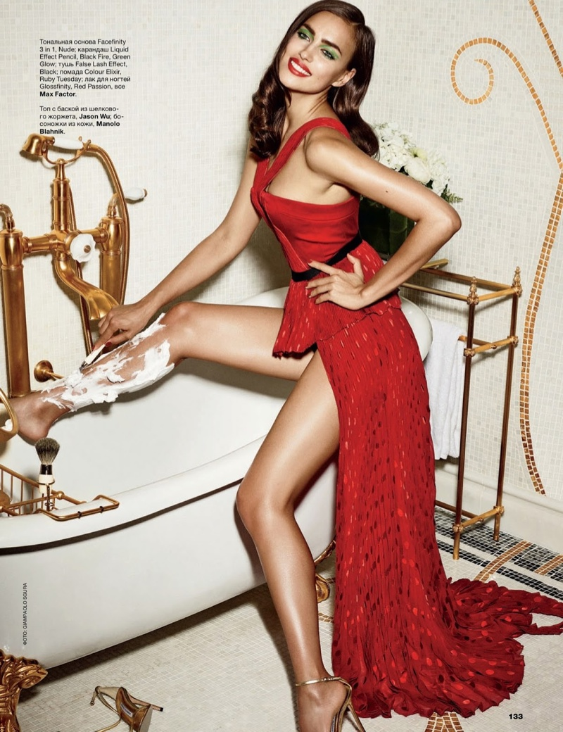Irina Shayk is the Lady in Red for Allure Russia Spread by Giampaolo Sgura