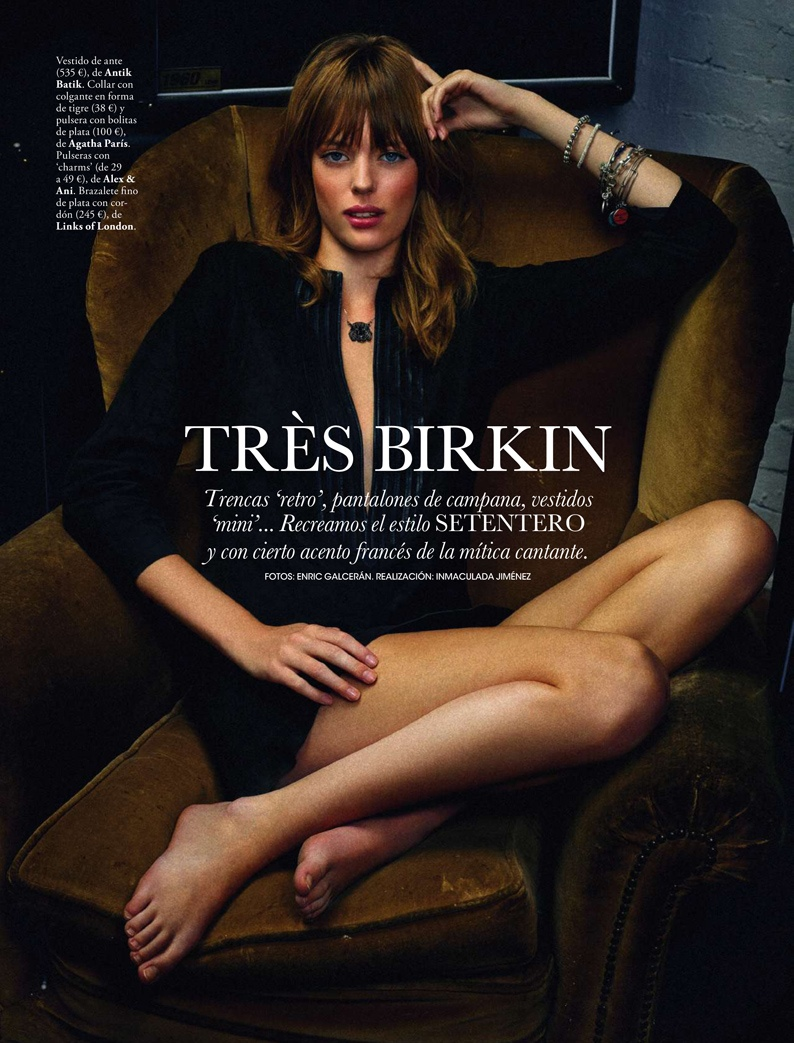 jane birkin shoot1 Femke Oosterkamp Channels Jane Birkin for Elle Spain by Enric Galceran